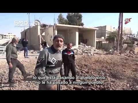 Imágenes duras de un hombre mayor en Irbín En Ghouta oriental.