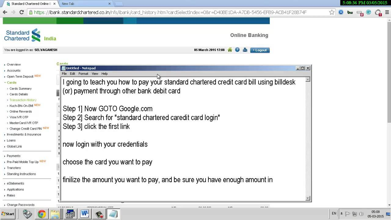 How to pay standard chartered credit card bill online through other how to pay standard chartered credit card bill online through other bank debit card reheart Image collections