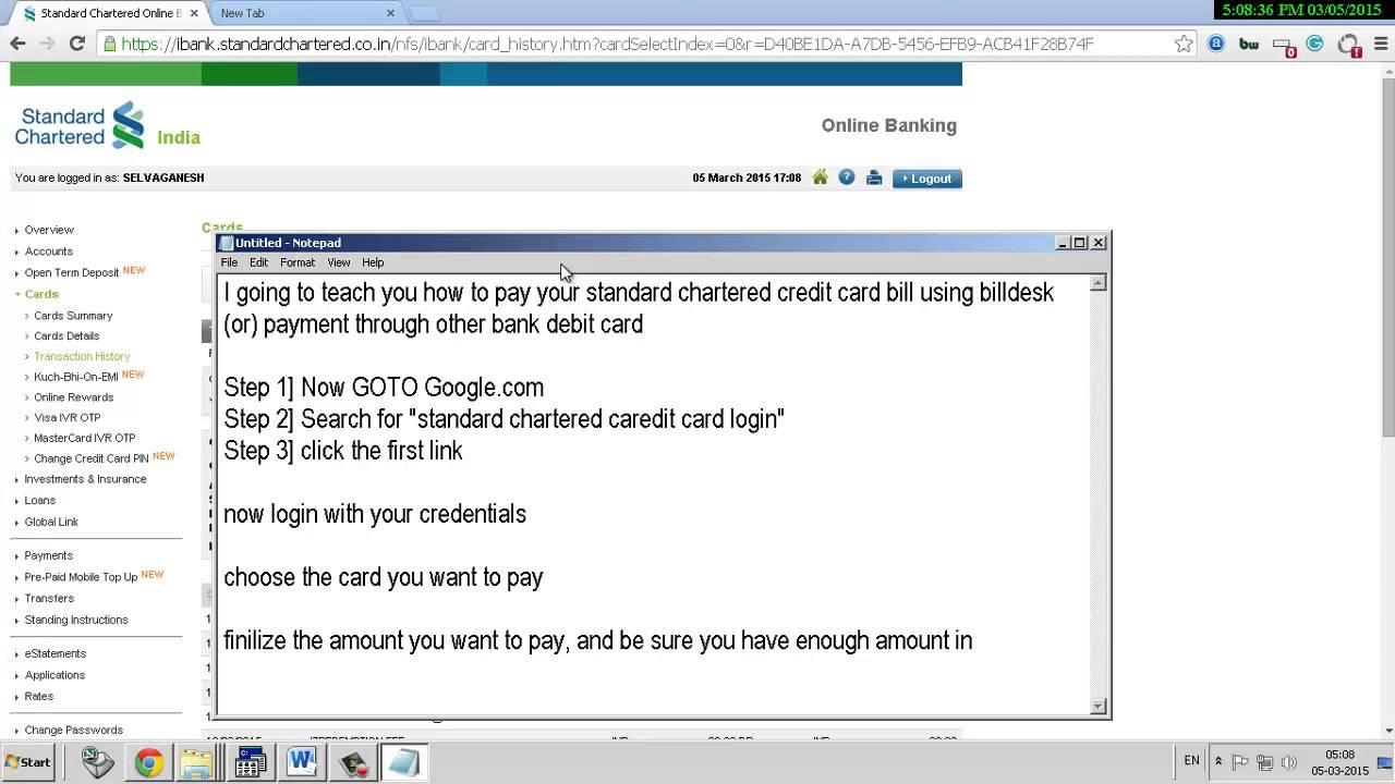 Standard Chartered Credit Card Payment Billdesk Through