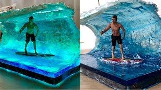 Wellen Surfer Epoxidharz LED Lampe