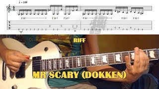 Mr Scary INTRO RIFF (Dokken) GUITAR LESSON with TAB