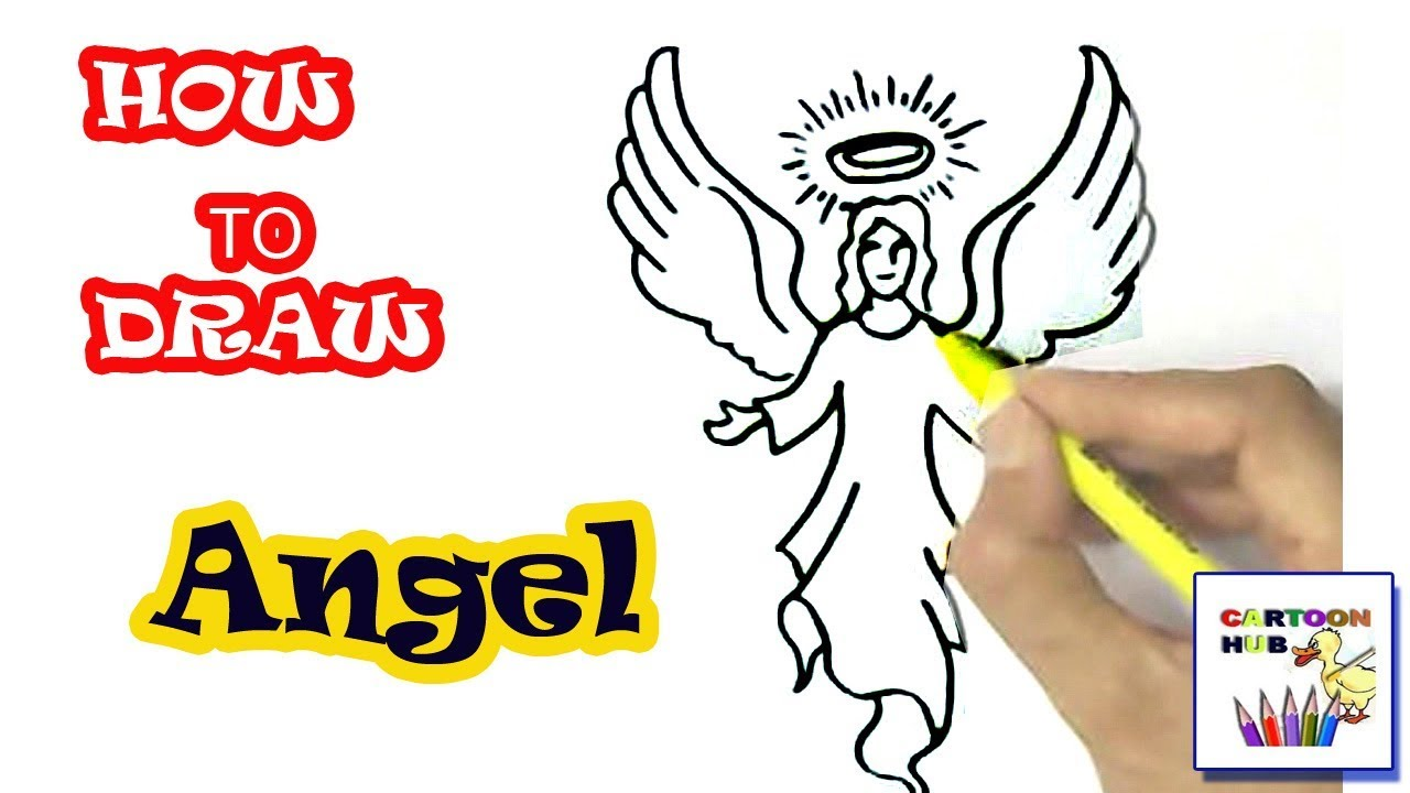 How To Draw Angel In Easy Steps Step By Step For Children Kids