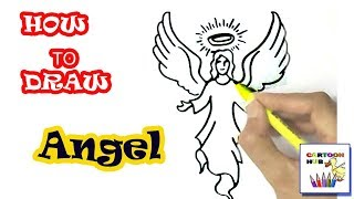 How to draw Angel in easy steps, step by step for children, kids, beginners