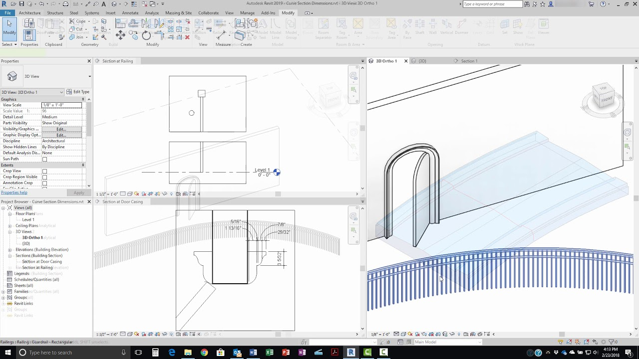 Revit 2019 Dimensions For Curved Objects In Section Views Youtube