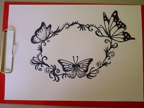 Рисуем, мастерим  поздравительные открытки на день рождения и др праздники.Узор с бабочками.