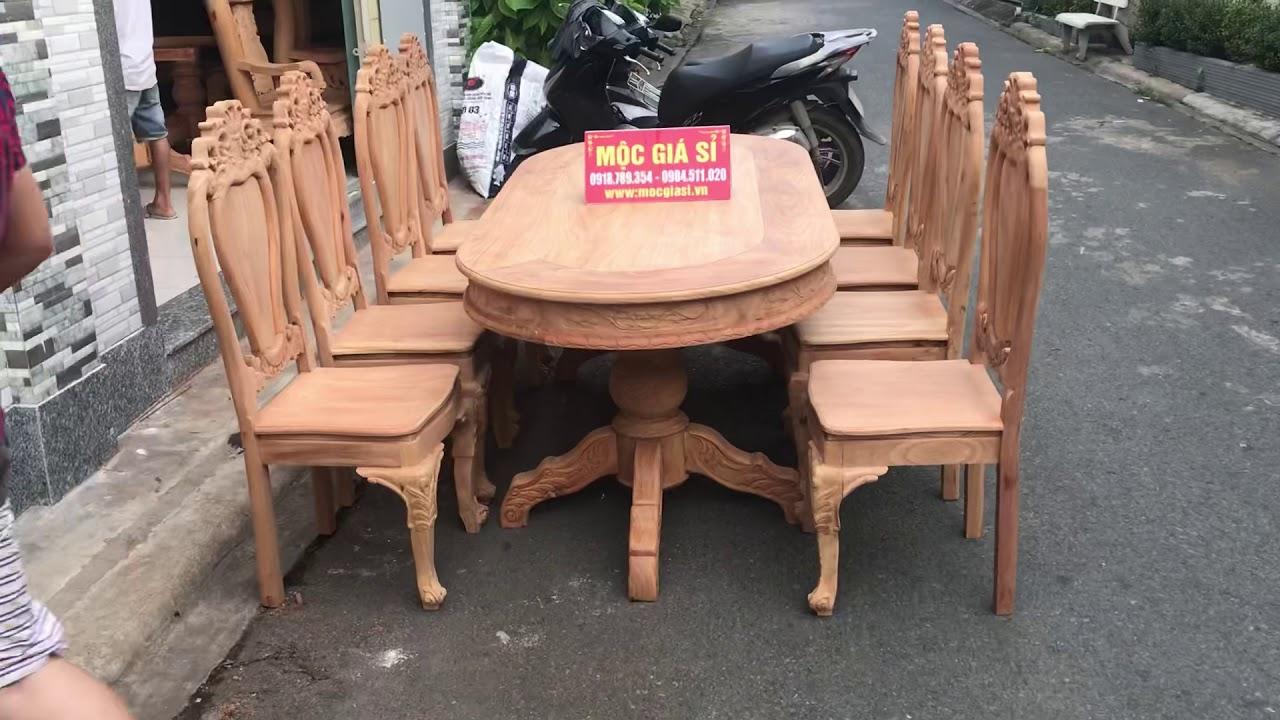 Bàn ăn bàn dài 8 ghế gỗ gõ đỏ, trụ gỗ gõ Lào đẳng cấp giá sơn hoàn thiện giá sỉ chỉ 19tr