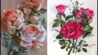 Очаровательные розы вышитые лентами
