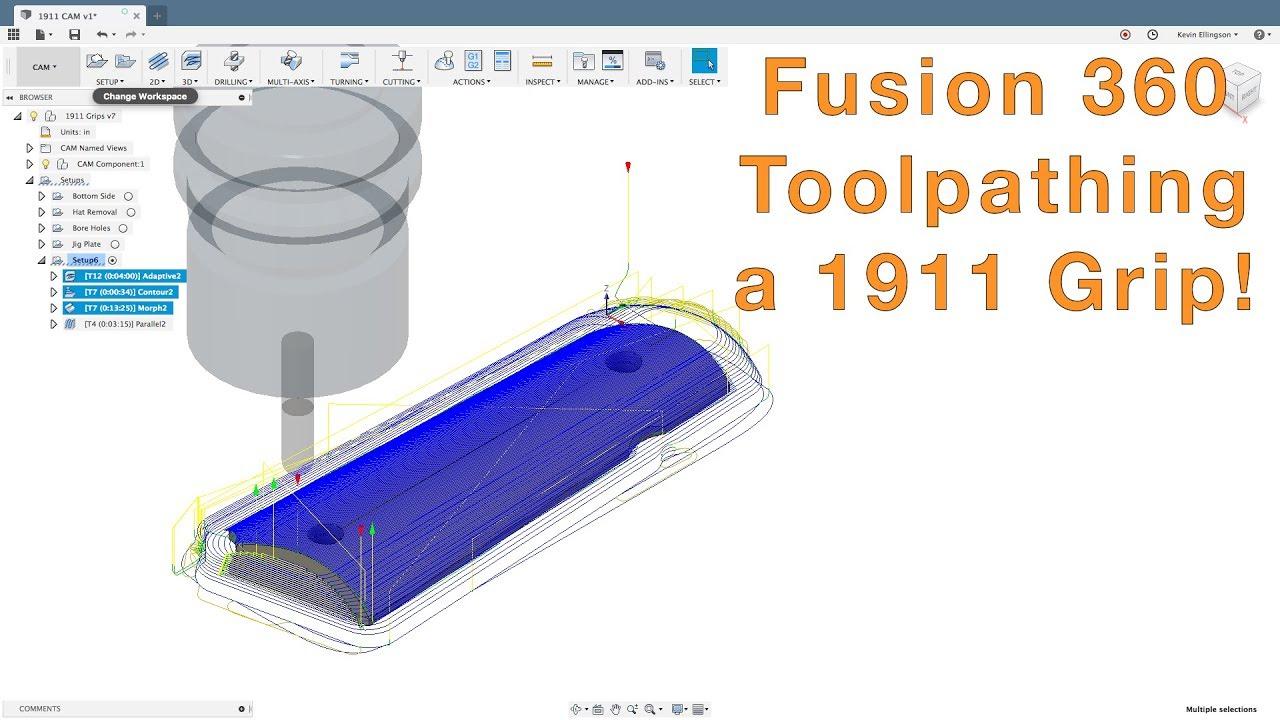 Fusion 360 - 3D CAM 1911 Grips