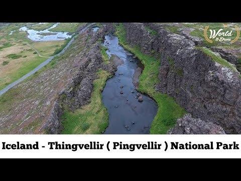 Thingvellir ( Þingvellir ) National Park in western Iceland from drone Phantom 4