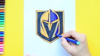How to draw and color the Vegas Golden Knights Logo - NHL Team Series