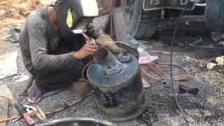 Welding 2mm thickness Steel Pipe ផ្សារដែកកំរាស់២មីលីម៉ែត្រធ្វើឆ្នាំងខ្យល់ឡាន