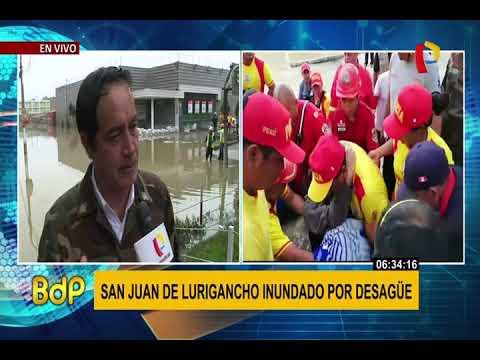 San Juan de Lurigancho continúa inundado tras aniego de aguas servidas