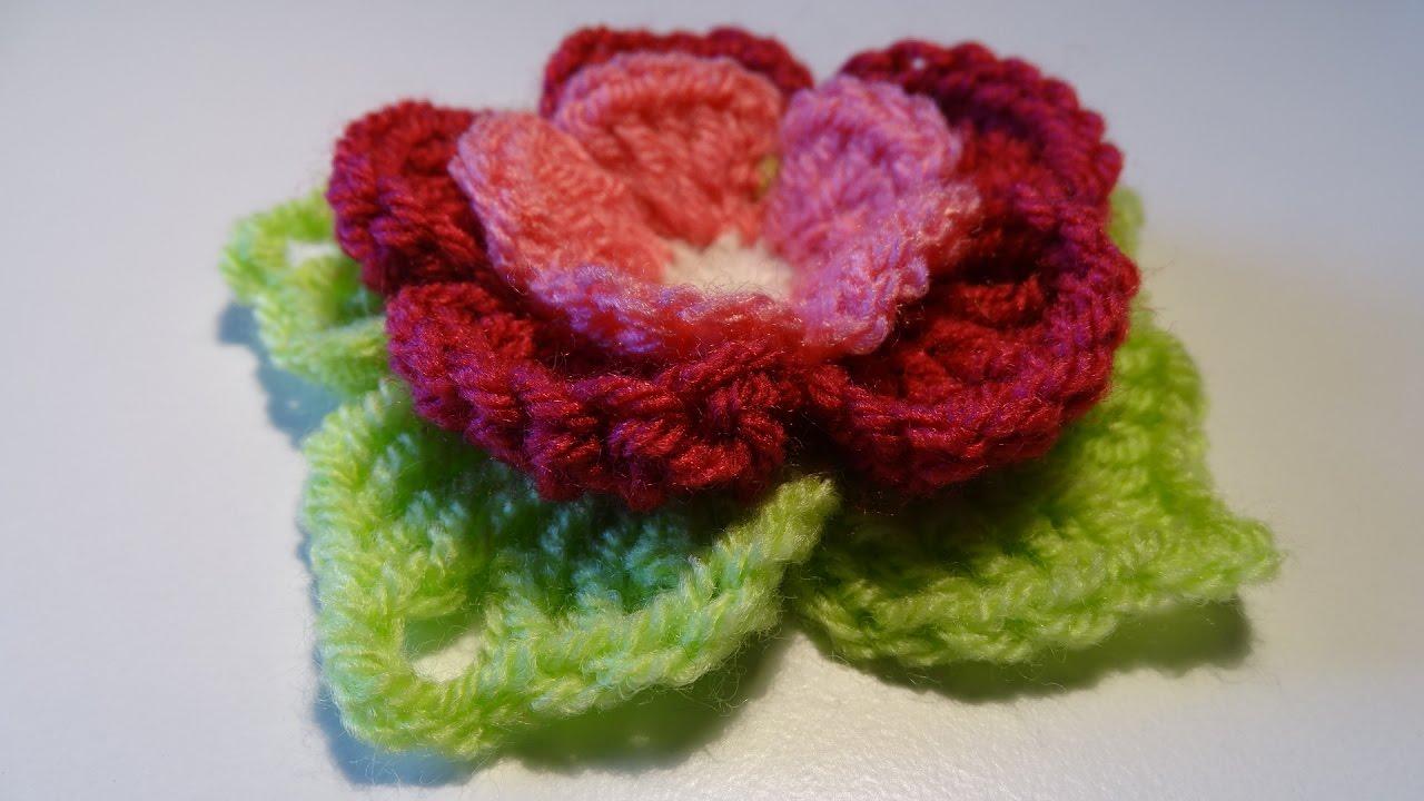 Crochet 3d Flower 3d Bloem Haken Youtube