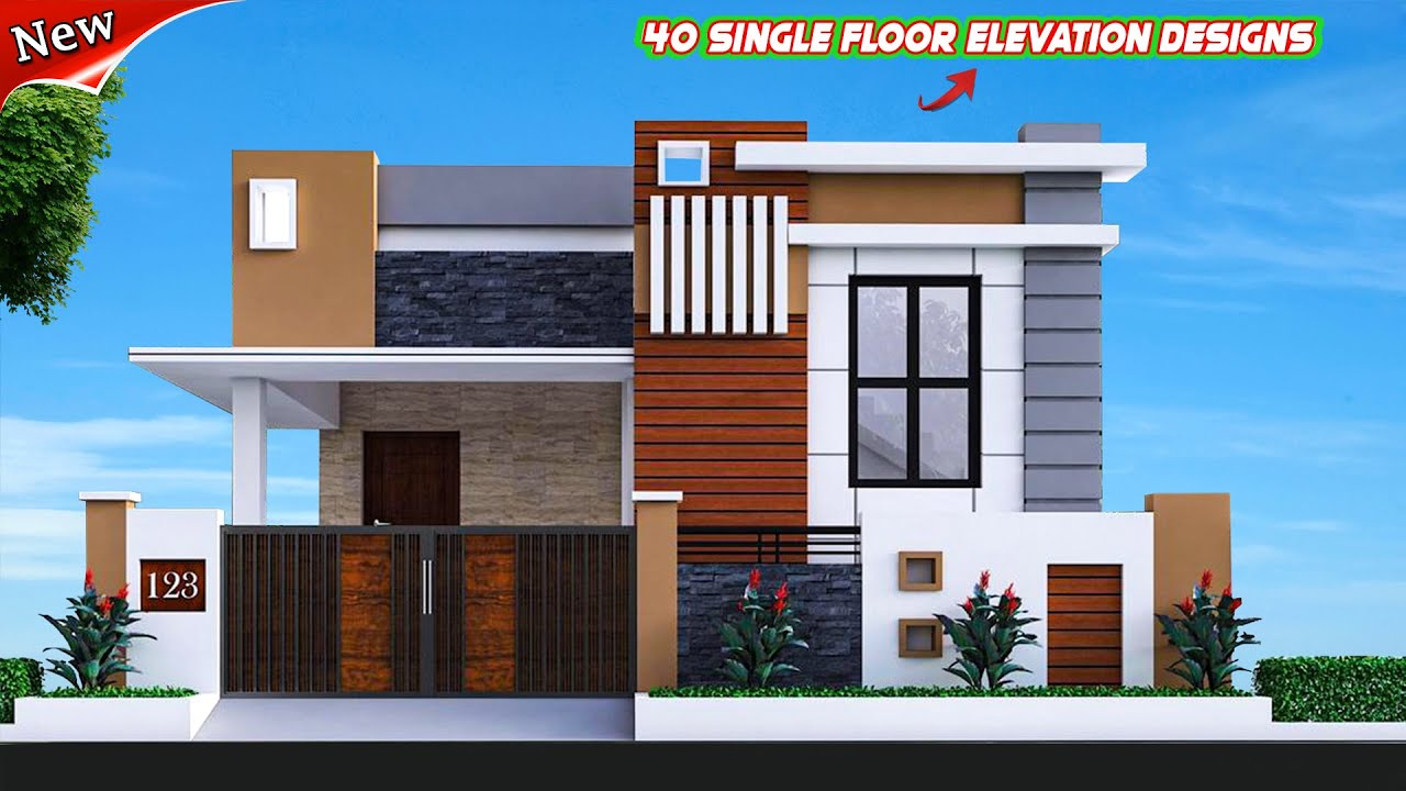 40 Amazing Home Front Elevation Designs For Single Floor | Ground Floor House Designs - YouTube