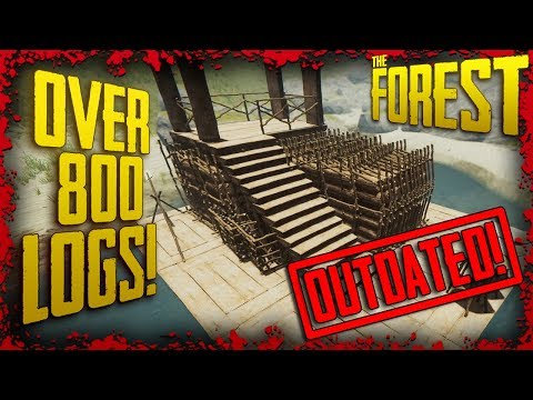 How To Fit 850+ Logs Onto The Large Raft & Still Have Space | The Forest Tutorial
