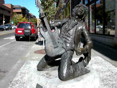 the statue of jimi hendrix in seattle youtube. Black Bedroom Furniture Sets. Home Design Ideas
