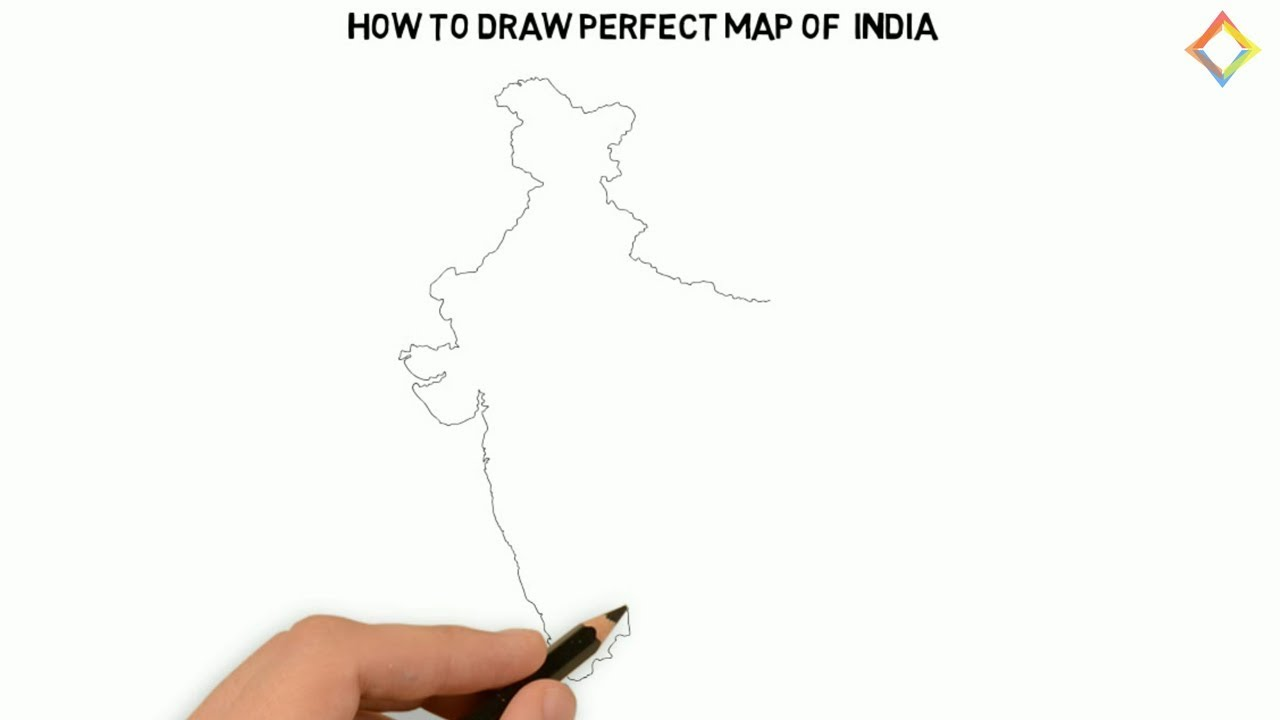 How To Draw The Map Of India Draw India Map Step By Step Outline Map