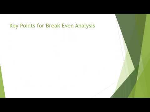 Total Cost of Ownership and Break Even Analysis