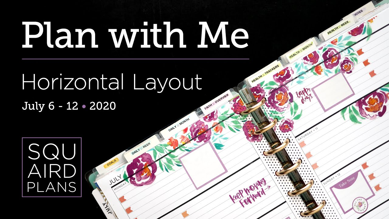 Plan with Me :: Summer Bloom (Challenge) :: Squaird Plans Horizontal Layout :: Classic Happy Planner