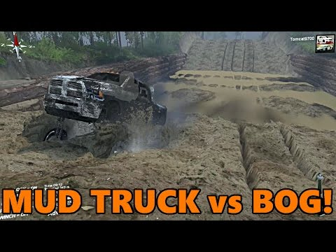 Spin Tires HUGE Mud Truck vs MUD BOG