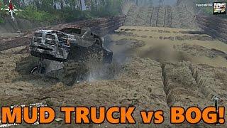 Spin Tires HUGE Mud Truck vs MUD BOG