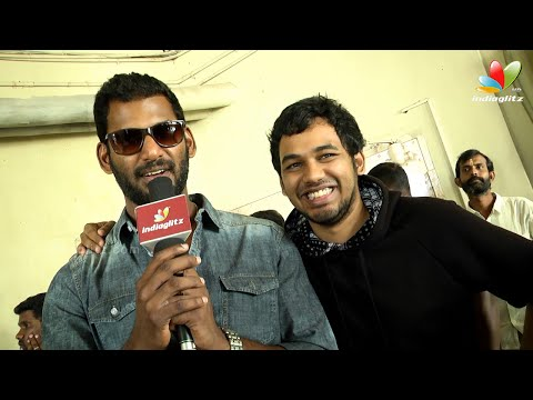 Vishal and Hiphop Adhi teasing each other at Aambala FDFS | Interview
