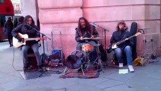 London street band Funfiction play Yellow (Coldplay)