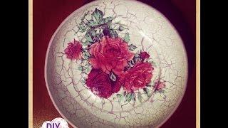 reverse crackle decoupage on plate roses decorations DIY ideas craft tutorial / URADI SAM Dekupaž