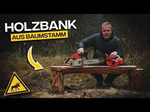 Bank aus Holzstamm bauen  Schwedencamp - Tom Siesing