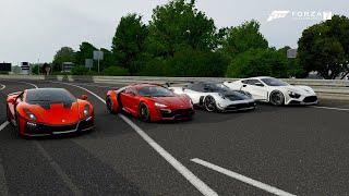 Forza 7 Drag race: Lykan Hypersport vs GTA Spano vs Pagani Huayra BC vs Zenvo ST1