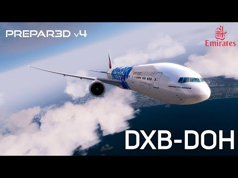 [P3Dv4.1] 777 Emirates flight from Dubai to Doha. HD