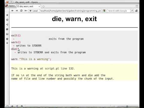 Beginner Perl Maven tutorial: 3.1 - die warn exit