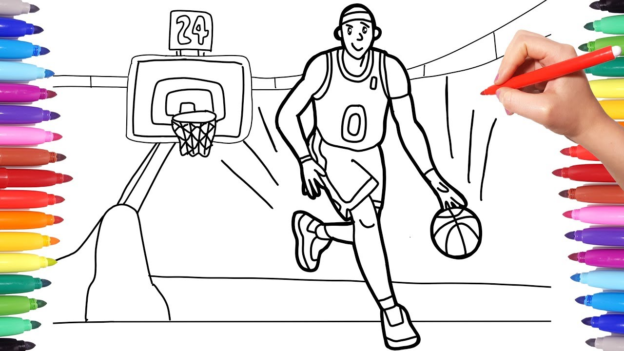 Sport Coloring Pages for Kids, How to Draw a Basketball ...
