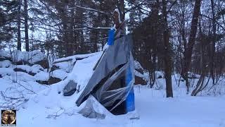 Зимняя рыбалка типа или Часть 8 Чей то самодельный домик палатка или шалаш в лесу зимой ВИДЕО