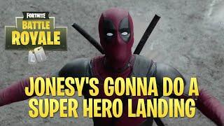 Jonesy's Superhero Landing - Deadpool parody (Fortnite Battle Royal)