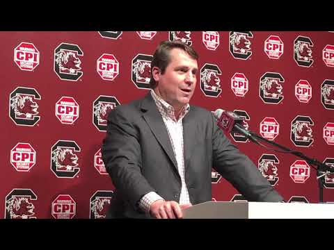 Will Muschamp meets with reporters, to discus the new football operations facility.