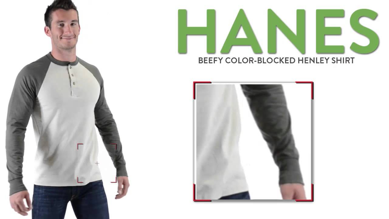 d92f249f Hanes Beefy Color-Blocked Henley Shirt - Long Sleeve (For Men and Big Men)