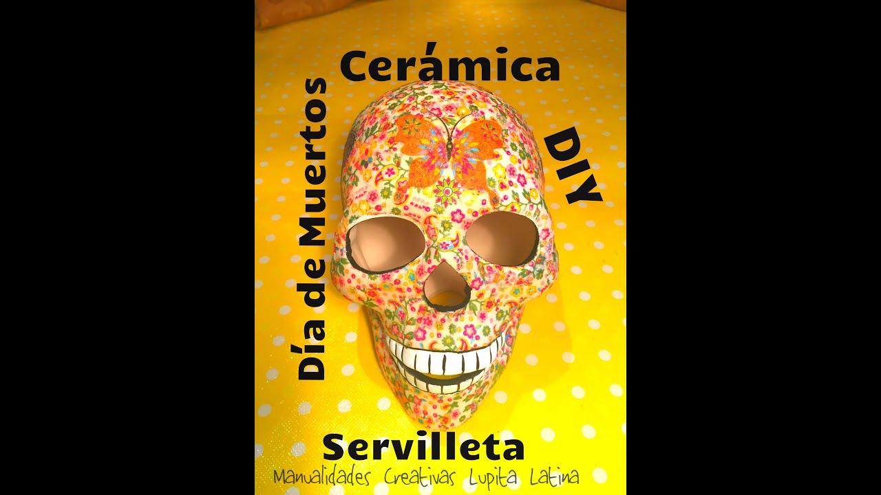 diy calavera de ceramica servilleta dia de muertos ceramic paste napkin halloween youtube - Halloween Dia