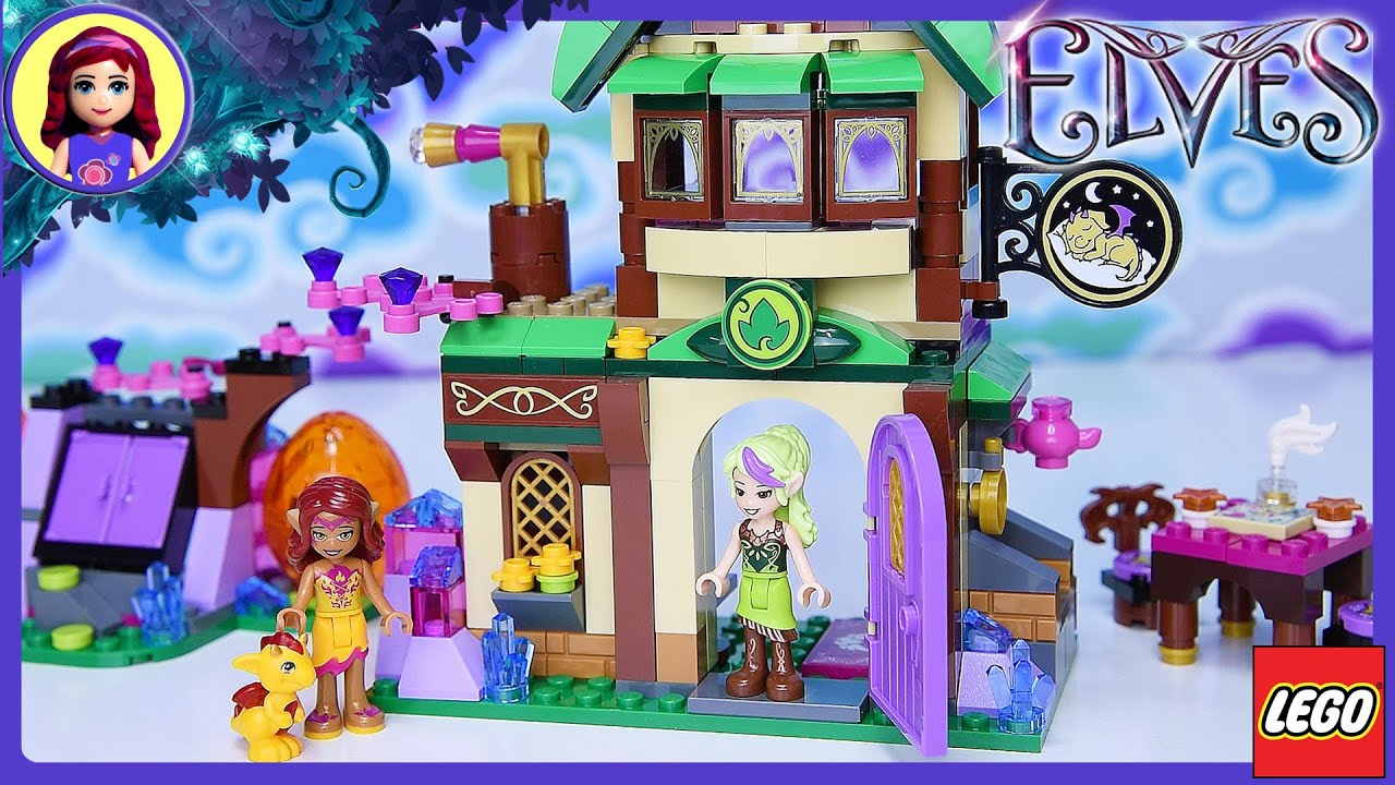 Ausmalbilder Lego Elves Drachen: LEGO Elves The Starlight Inn With Baby Fire Dragon Build