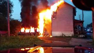 Newark Ohio Fire Department house fire 108 S. 6th St with audio