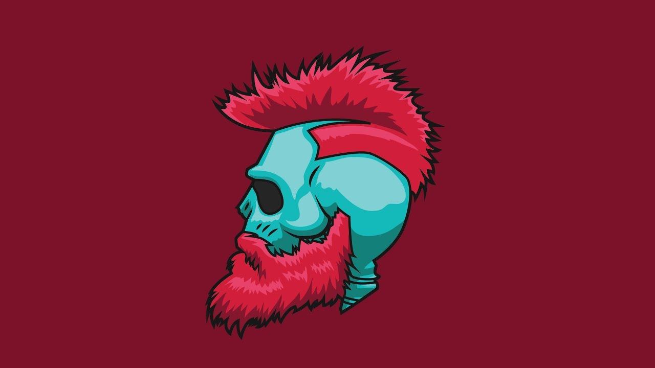 Skull in Beard Vector Drawing in Adobe Illustrator
