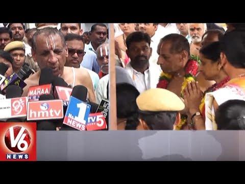 Governor Narasimhan Visits Dharmapuri Sri Laxmi Narasimha Swamy Temple | Jagtial | V6 News