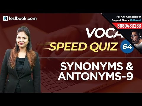 Vocab Speed Quiz 64 | Important Synonyms & Antonyms Part 9 | Learn English From Pratibha Ma'am