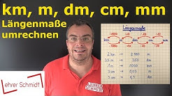 Maßeinheiten umrechnen -  Längen - Strecke - Längenmaße - km, m, dm, cm, mm | Lehrerschmidt