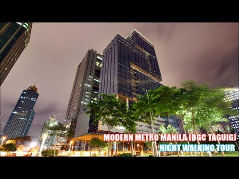 Modern Metro Manila Philippines Night Walking Tour BGC Taguig Filmed by DJI OSMO