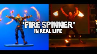Fire Spinner Emote... IN REAL LIFE!!! [Fortnite New Emote Comparison]
