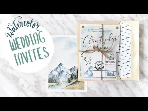 DIY Watercolor Mountain Themed Wedding Invitations