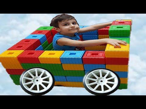Çınar Efe'ye lego bloklarla araba yaptık color block cute toy car fun kids videos
