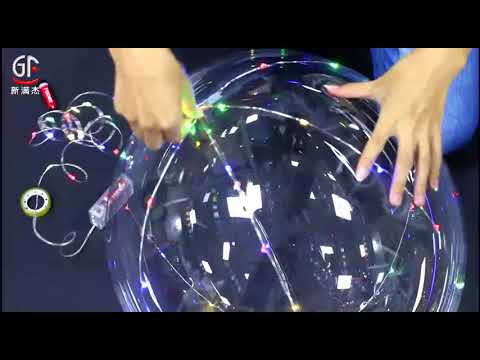 GF LED Light Up Bubble Helium Balloon With Multi Color Copper Wire String  Lights