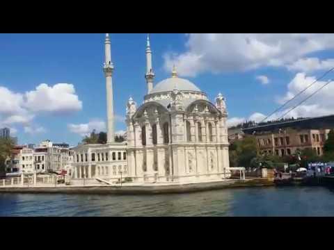 Bosphorus strait in Istanbul: Ortakoy mosque and Bosphorus bridge جولة بمضيق البوسفور بإسطنبول